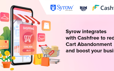 Syrow integrates with Cashfree to reduce cart abandonment and boost your business